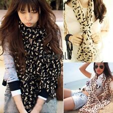 Women Fashion Cats Print Long Style Wrap Lady Shawl Chiffon Scarf Scarves LM