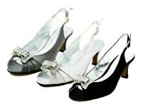 Ladies Shimmer Satin open toe kitten heel party shoes with diamante brooch