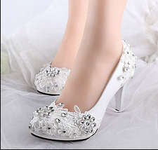White lace crystal wedding shoes Bridal flats/low/high heels sweet style Bridal