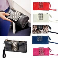 Hot Lady Womens Black Rivet Stud Handbag PU Leather Clutch Purse Wallet Card Bag