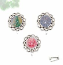34mm Silver Tone & Glass Lapel Pin Brooch - Pale Pink Blue & Green Spring Floral