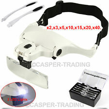 Lightweight Head Magnifier 2 LED Lights Magnifying Glass LED Lamp Headband LOT