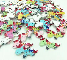 Mixed Horse Pattern Wood Sewing Buttons Scrapbooking 2 Holes Crafts 37mm