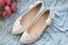 heel wedges lace white light ivory pearl wedding shoes bridal low sweet style