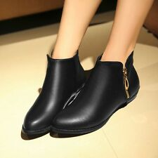 US Size 5-11.5  Womens Leather Zip Low Cuban Heels Booties Solid Shoes For Lady