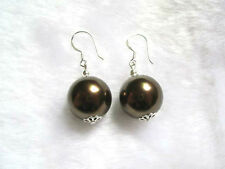 Brown mother-of-pearl shell round beads silver hook earrings