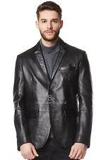 New Men's Stylish Milano 2 button Classic Blazer Black 100 % Leather Jacket Coat