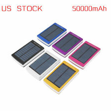 US 50000mAh Dual USB Solar Power Bank External Battery Charger for Phone LaptoOY