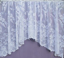 ANNA WHITE ALL OVER FLORAL LACE JACQUARD JARDINIERE NET CURTAIN DINING ROOM
