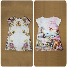 Girls Floral Print Short Sleeve Dress Baby Kids Summer Party Dresses 2-5 Years
