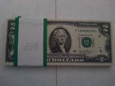 Uncirculated Two Dollar Bill, Crisp $2 Note, Sequential MINT