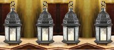 "4 CLEAR GLASS MOROCCAN CANDLE LANTERNS - 10 1/4"" HIGH - IRON & GLASS - BLACK"