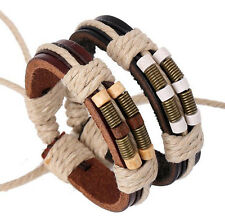 Fashion Surfer Handmade Charm Hemp Leather Braided Mens Wristband Cuff Bracelet