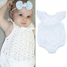 Infant Baby Girl Bodysuit Lace Hollow Romper Jumpsuit Sleeveless Outfits Sunsuit