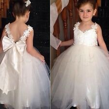 Baby Flower Girl Dress Bow Backless Party Gown Formal Bridesmaid Straps Dresses