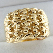 Mens solid 9ct yellow Gold 4 row Keeper Ring Brand new and boxed