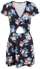 Womens Ladies Floral Skater Dress Front Cut Out Top Mini Short Sleeve Cute Sexy