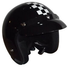 Viper RS-04 Open Face Motorbike Motorcycle Helmet Scooter Chequer Black