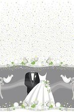 Bride & Groom Wedding Silver Doves Plastic Party Tablecover Tablecloth 1-5pk