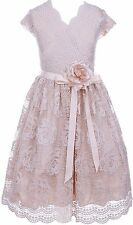 Girls Dress Cap Sleeve Lace Floral Overlay Sash Flowers Flower Girl...