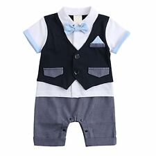 Boys Outfits, Toddler Short Sleeve Romper Clothing with Plaid Cap &...