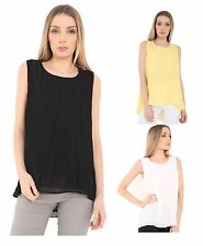 Ladies Womens Crinkle Chiffon High Low Vest Top Pleated Sleeveless Blouse