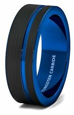 Mens Wedding Band 8mm Black Brushed Tungsten Ring Thin Side Blue Groove Flat...