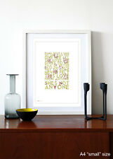OASIS ❤ Song Bird ❤ song lyric poster art Limited Edition Print - 5 sizes #38