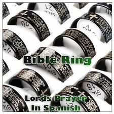 Black Lords Prayer Ring Our Father Bible Cross, Stainless steel Size O,Q,S,V,X,