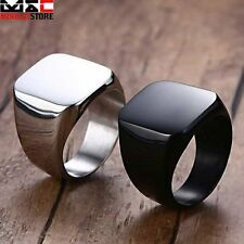 Solid Polished Stainless Steel Band Biker Mens Womens Ring Black Silver US 8-12