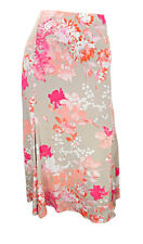 Marks & Spencer coral/taupe/cream floral print stretchy skirt elasticated waist