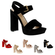 Ladies Ankle Strap Open Toe Block Heel Barely There Fashion High Heels
