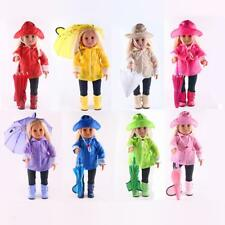 6Pieces/Set Raincoat Outfit Fit American Girl Dolls 18 inch Doll Clothes Costume
