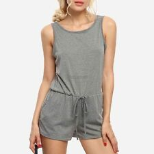 Casual Women O-Neck Sleeveless Solid Backless Pocket Romper Playsuit OK01