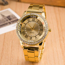 Men Women's Rhinestone Roman Numerals Alloy Band Round Analog Quartz Watch Deft