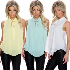 Ladies Crepe Top Button Top Shirt Blouse High low Hem S 34 36 Party Club Office