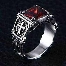 Mens Silver Cross Huge Vintage Gothic Biker Ruby 316L Stainless Steel Rings Band