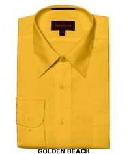 MEN DRESS SHIRTS BY DIMENSION LUXURY FIT SOLID COLOR BUSINESS SHIRTS GOLD