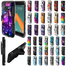 For HTC 10 One M10 Design Holster Hybrid Hard Rubber Silicone Case Cover