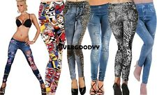 New Women's Denim Look Ripped Faux Jean Leggings VGY01
