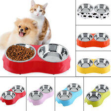 Dog Cat Stainless Steel Double Diner Food Water Bowl Pet Feeder Plastic Pallet Y