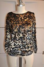 Chico's Sz 1 Womens 8-10 Black Gold Abstract Animal Print Lined Top Ruching