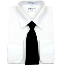 Men's Casual French Cuff Tie Set White Business Shirt & Black Tie By Berlioni