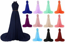 Long Chiffon Halter Bridesmaid Prom Dress Evening Party Ball Gown Stock Size6-22