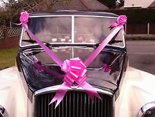 Pink  Wedding Car Kit 1 , 3 or 5 Large Pull Bows & 7 Metres of Poly Ribbon