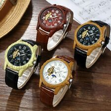 Luxury Mens Brown Moon Face Leather Dial Sport Mechanical Automatic Wrist Watch