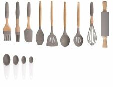 SABICHI SILICONE WITH WOODEN HANDLE COOKING UTENSILS