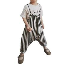 Kids Baby Boys Girls Striped Suspender Bib Pants Jumpsuit Overall Outfits 0-4T