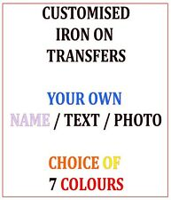 CUSTOM IRON ON T-SHIRT TRANSFER PERSONALISED TEXT QUALITY NAME PRINTS PHOTO MORE
