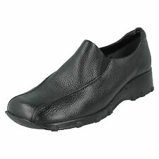 Clarks 'Idana' Ladies Black Textured Leather Slip On Wedge Shoes D Fit